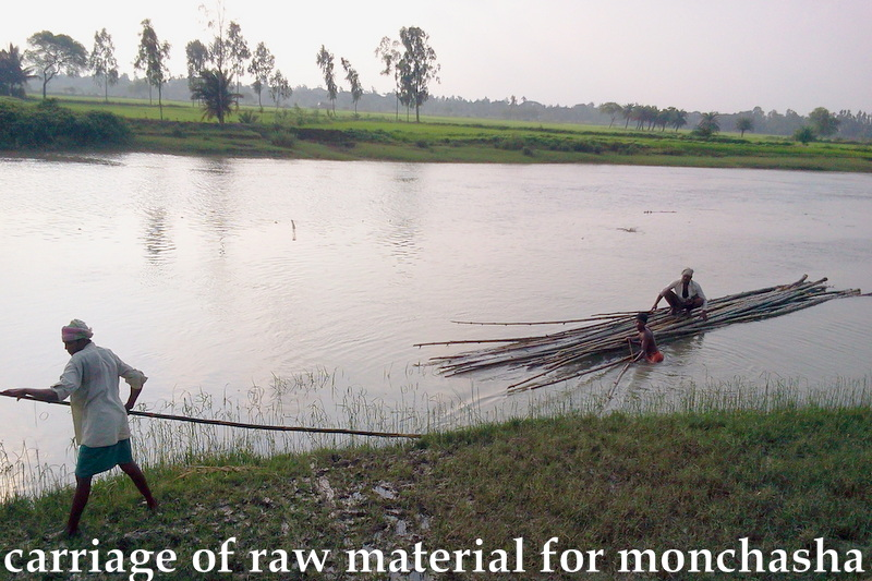 required bamboo, logs, hogla etc materials were transported through the meandering bagda river beside monchasha
