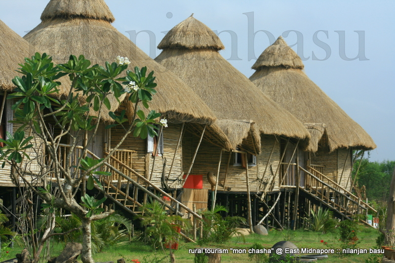 we have developed four octagonal bamboo huts, fully covered with local hogla leaves, straw thatched roof and windows with north south cross ventilation. attached bath area with all modern amenities, local styled bamboo furniture, general utility tools, neatly crafted river facing verandah and common areas will certainly please your mind.