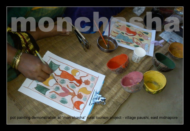 Pot Painting Demonstration going on at Monchasha Rural Tourism Project